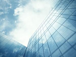 Skyscraper's blue glass wall